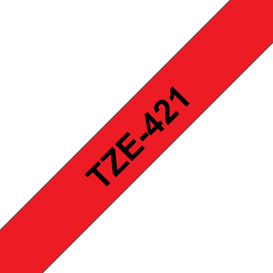 Genuine Brother TZe-421 Labelling Tape Cassette – Black on Red, 9mm wide 2