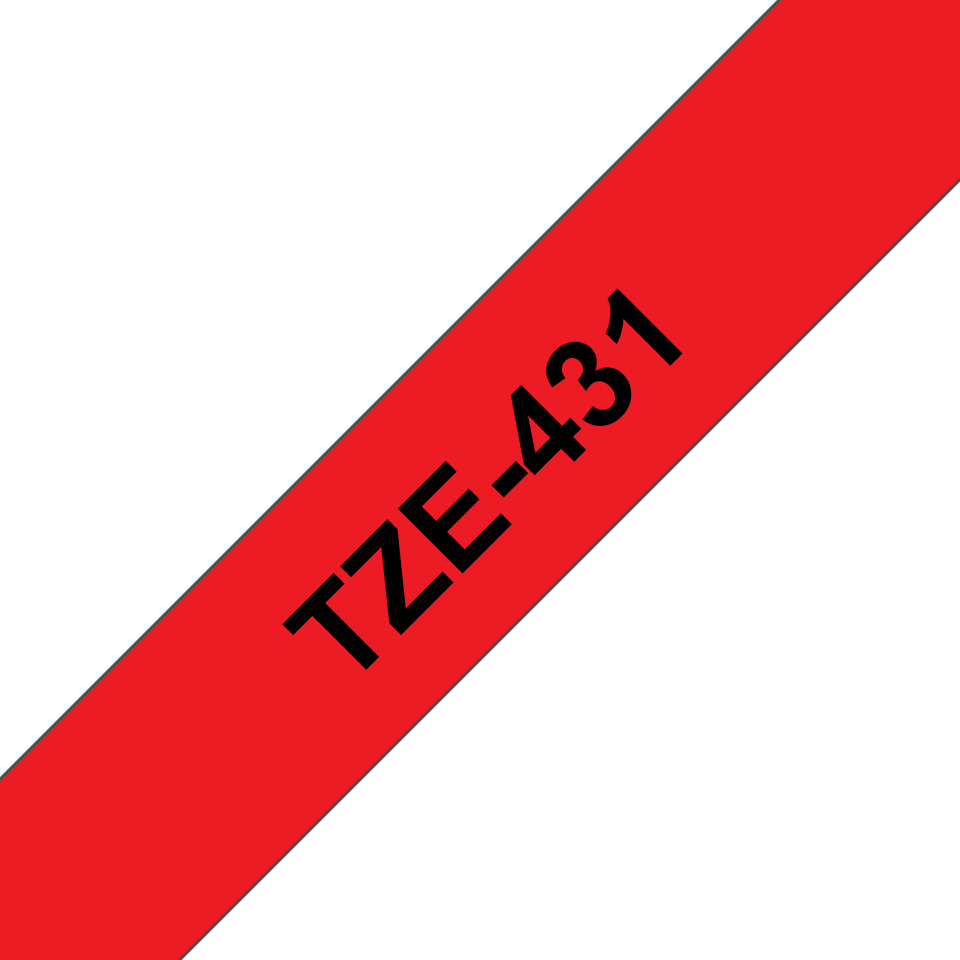 Genuine Brother TZe-431 Labelling Tape Cassette – Black on Red, 12mm wide