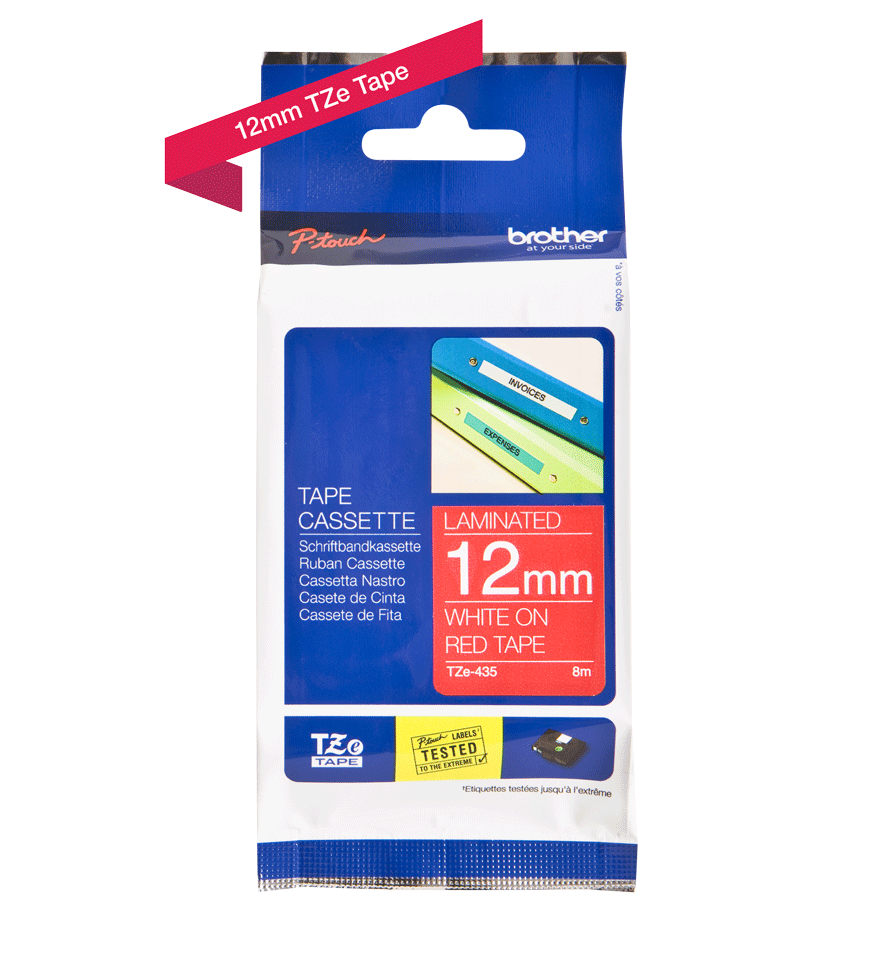 Genuine Brother TZe-435 Labelling Tape Cassette – White on Red, 12mm wide 2