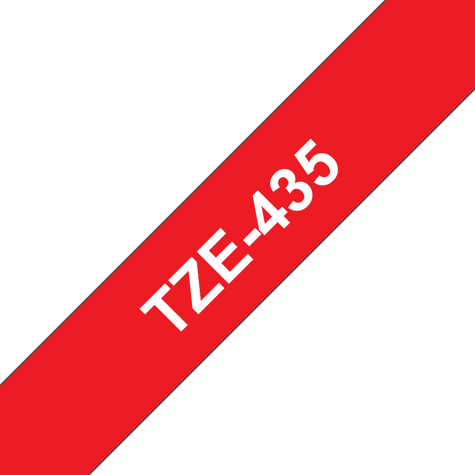 Genuine Brother TZe-435 Labelling Tape Cassette – White on Red, 12mm wide