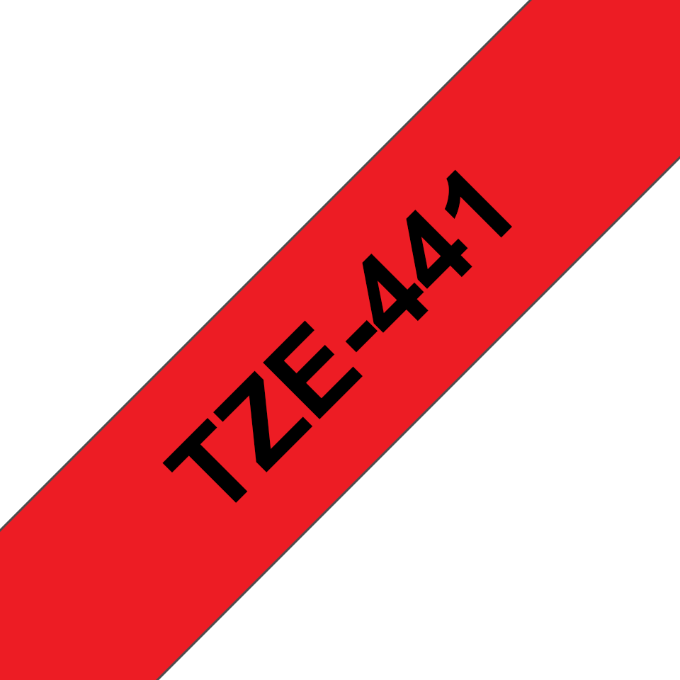 Genuine Brother TZe-441 Labelling Tape Cassette – Black on Red, 18mm wide