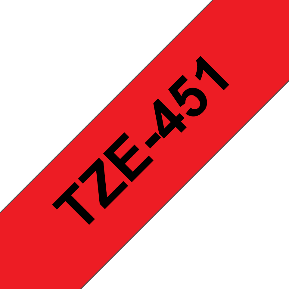 Genuine Brother TZe-451 Labelling Tape Cassette – Black on Red, 24mm wide 3