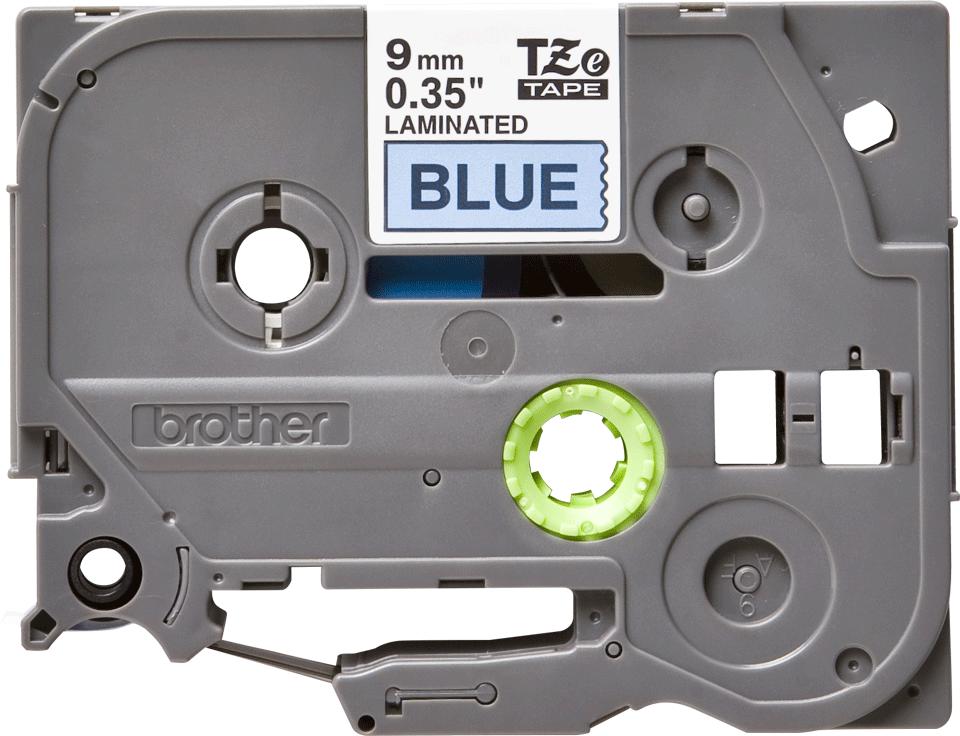 Genuine Brother TZe-521 Labelling Tape Cassette – Black on Blue, 9mm wide