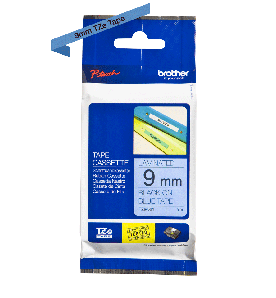 Genuine Brother TZe-521 Labelling Tape Cassette – Black on Blue, 9mm wide 1