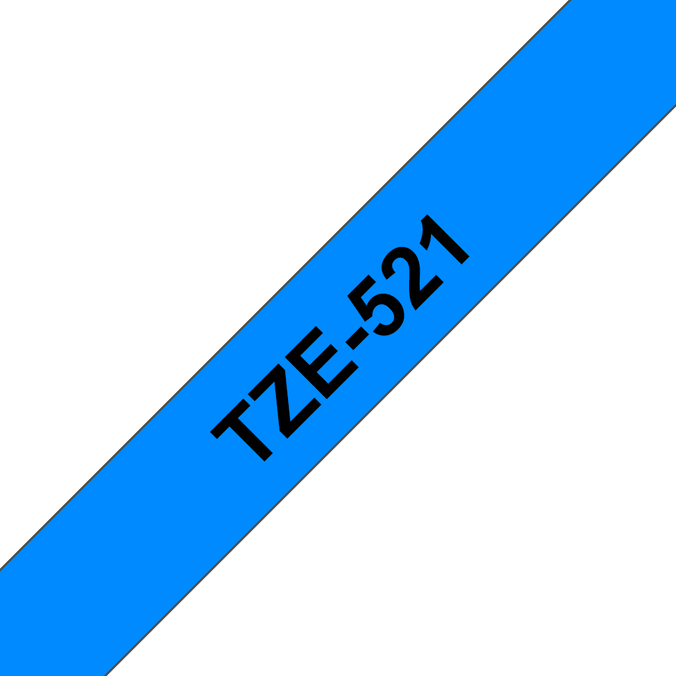 Genuine Brother TZe-521 Labelling Tape Cassette – Black on Blue, 9mm wide