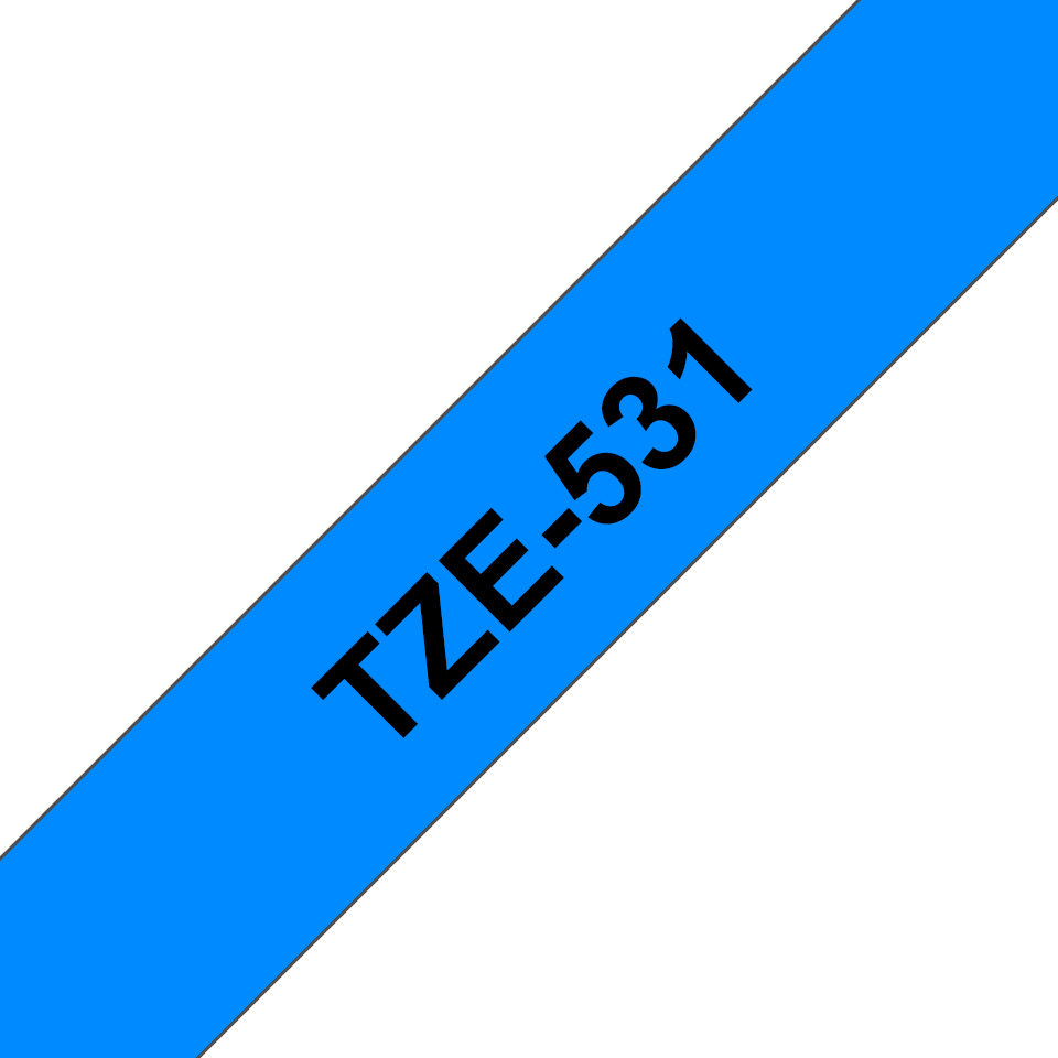 Genuine Brother TZe-531 Labelling Tape Cassette – Black on Blue, 12mm wide