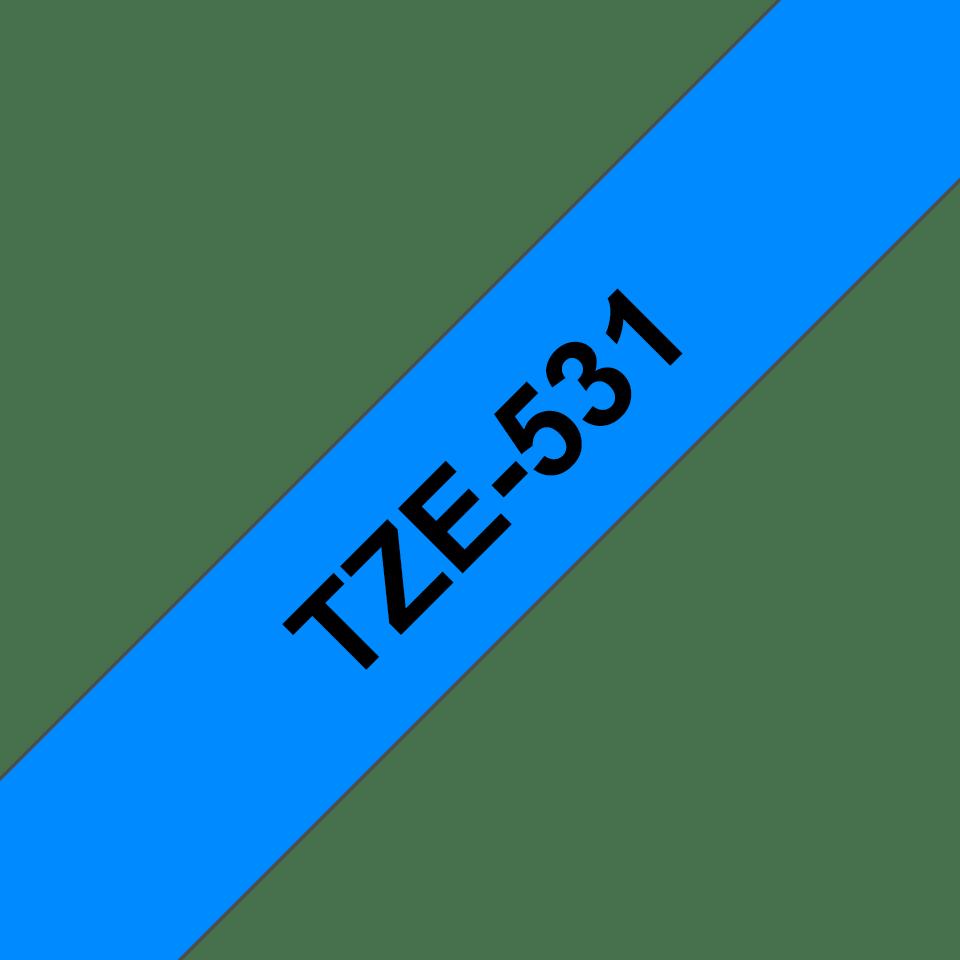Genuine Brother TZe-531 Labelling Tape Cassette – Black on Blue, 12mm wide 3