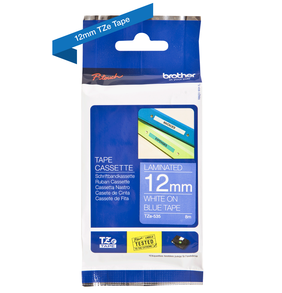 Genuine Brother TZe-535 Labelling Tape Cassette – White On Blue, 12mm wide 2