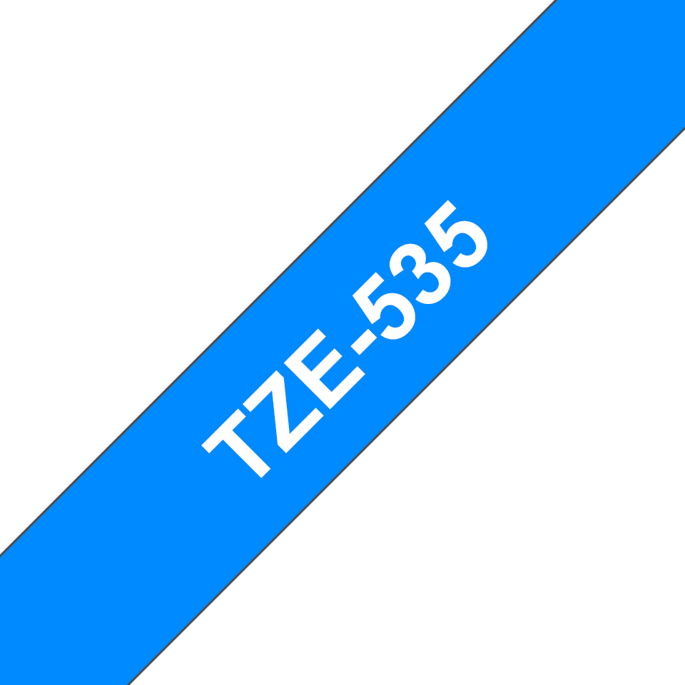Genuine Brother TZe-535 Labelling Tape Cassette – White On Blue, 12mm wide