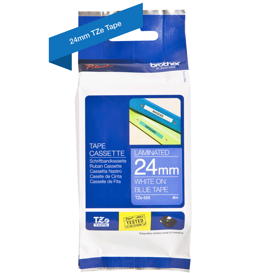 Genuine Brother TZe-555 Labelling Tape Cassette – White On Blue, 24mm wide 2