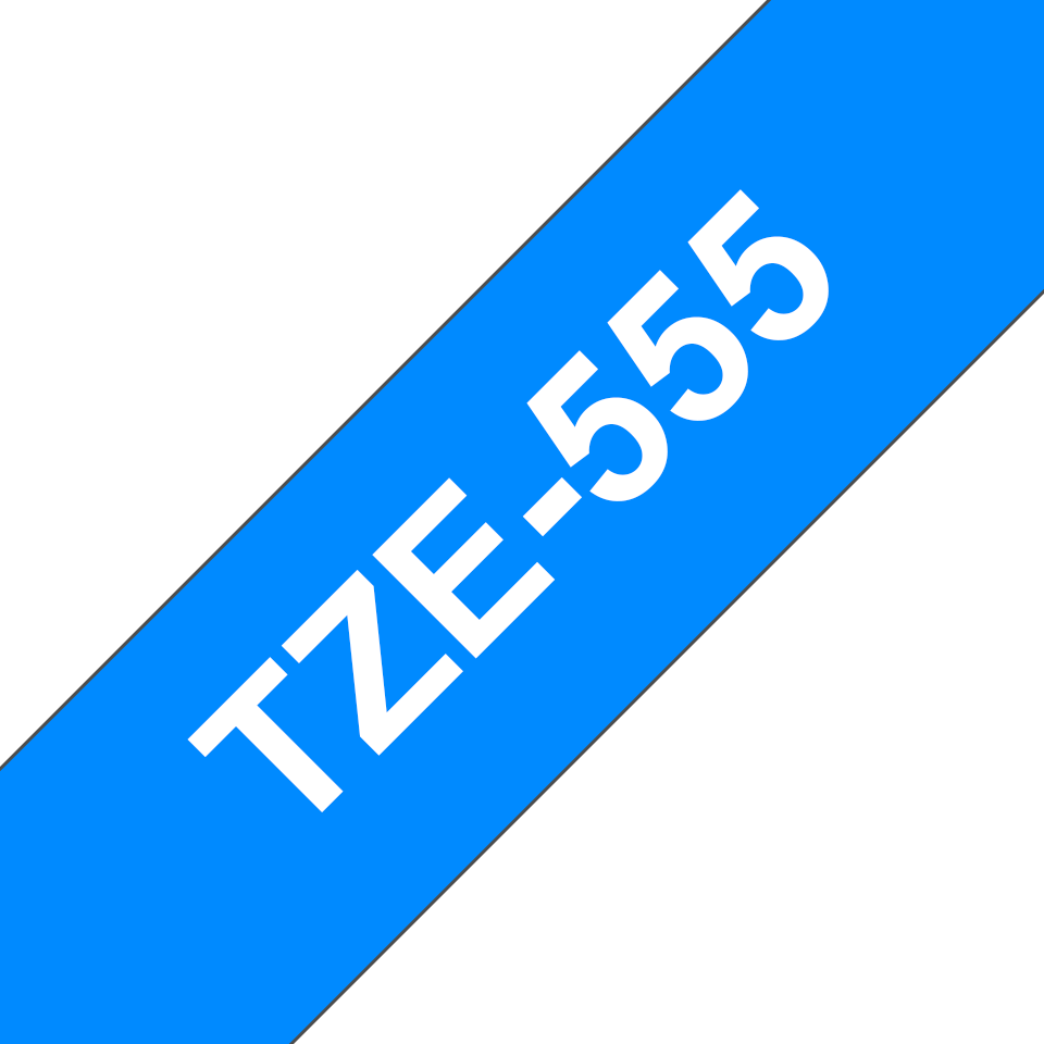Genuine Brother TZe-555 Labelling Tape Cassette – White On Blue, 24mm wide