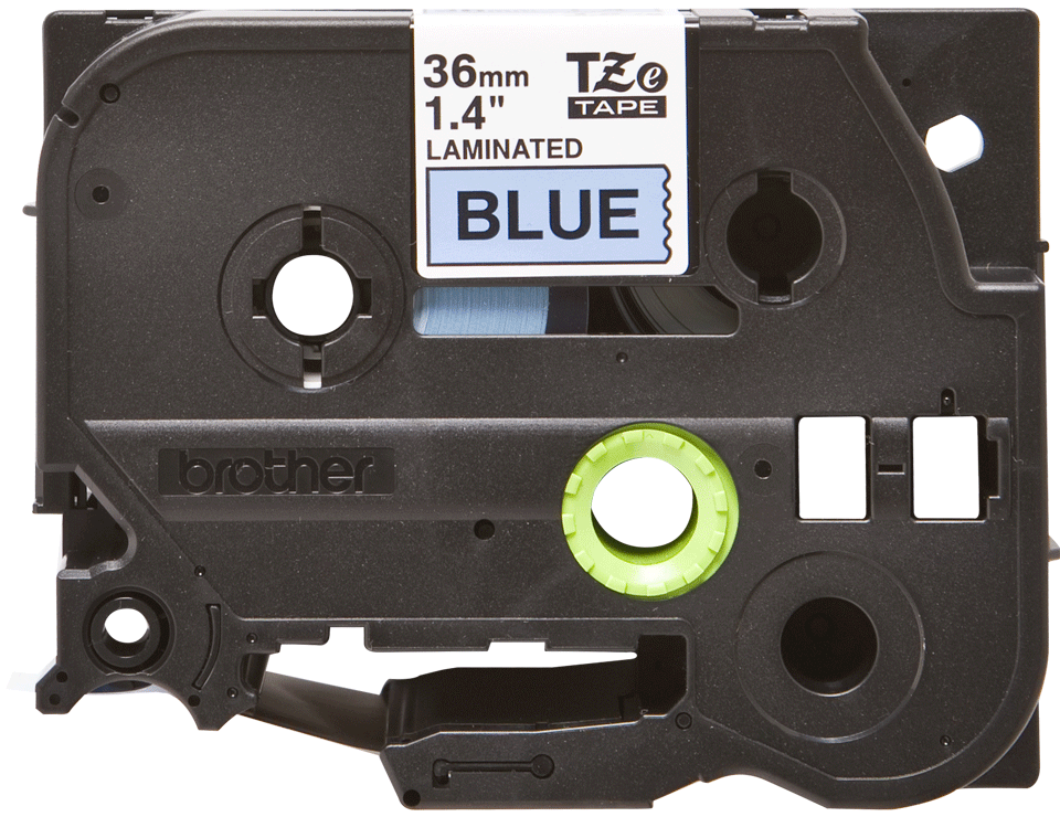 Genuine Brother TZe-561 Labelling Tape Cassette – Black on Blue, 36mm wide