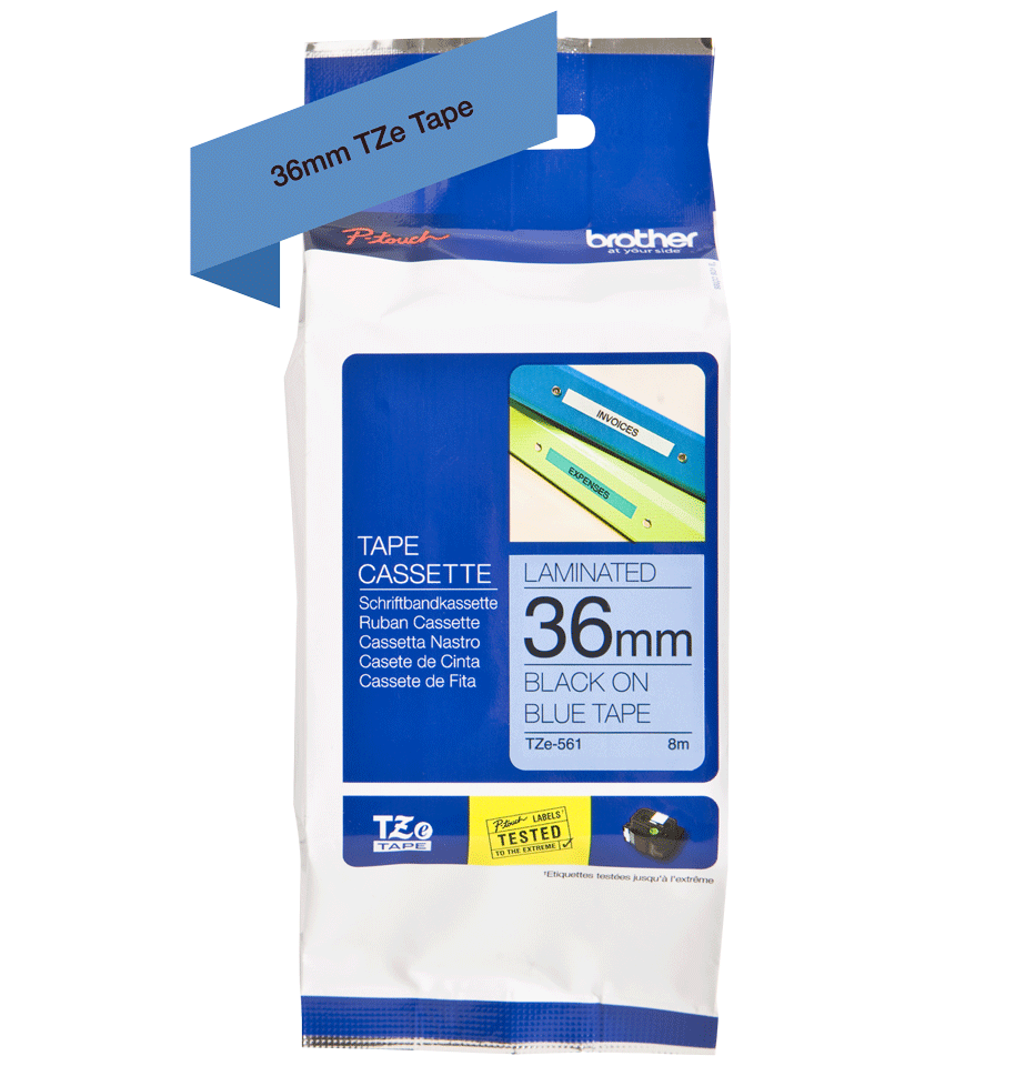 Genuine Brother TZe-561 Labelling Tape Cassette – Black on Blue, 36mm wide 2
