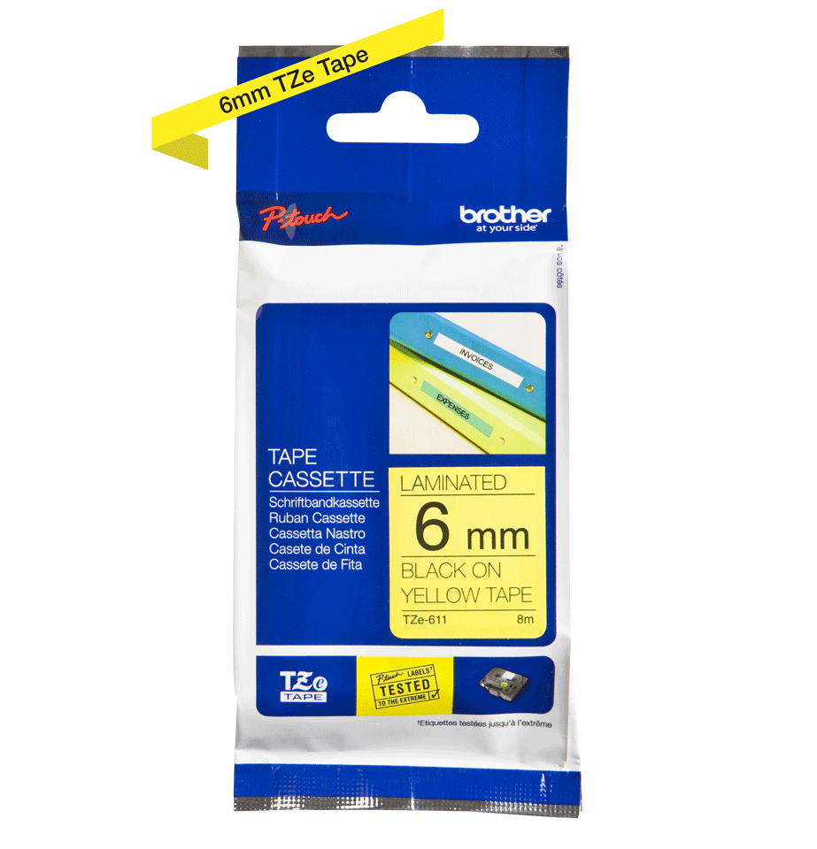 Genuine Brother TZe-611 Labelling Tape Cassette – Black on Yellow, 6mm wide 3