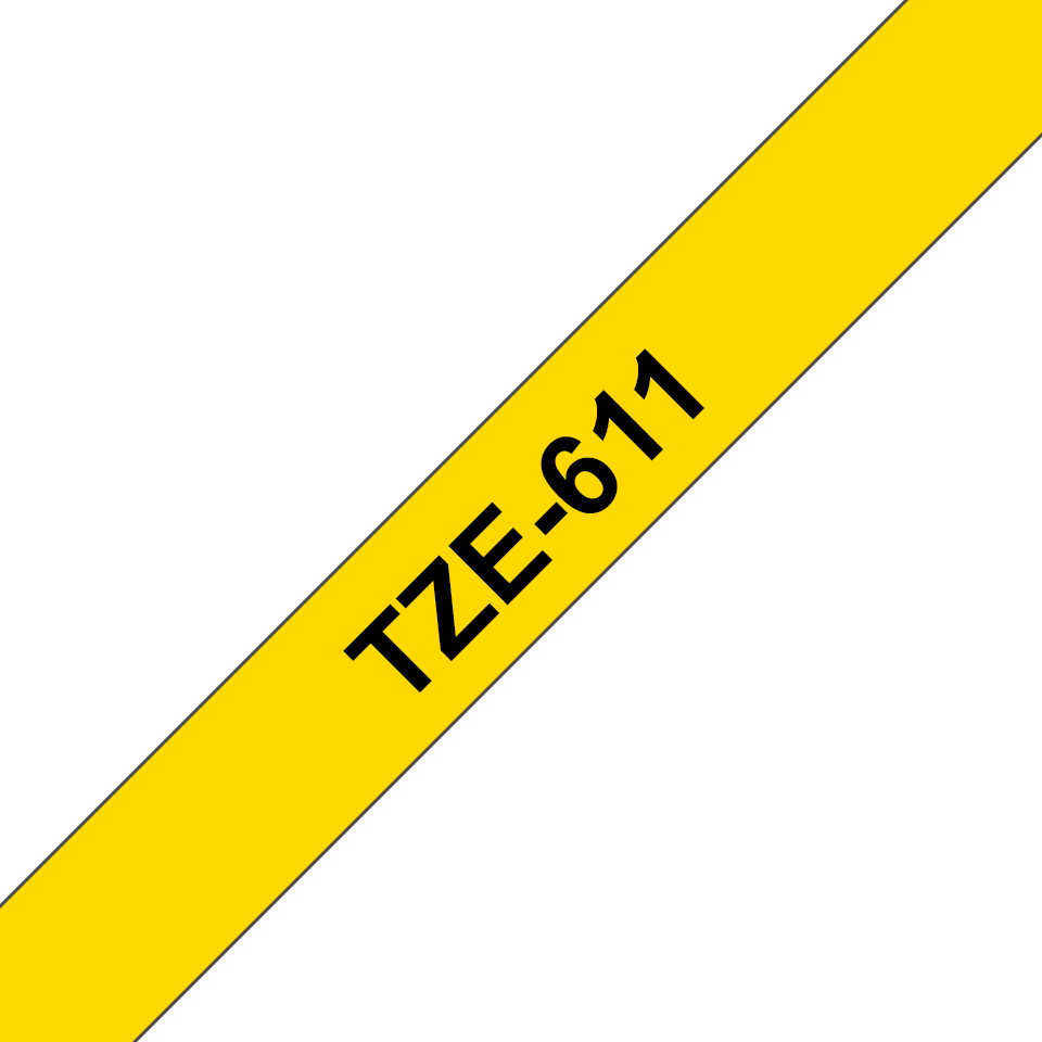 Genuine Brother TZe-611 Labelling Tape Cassette – Black on Yellow, 6mm wide