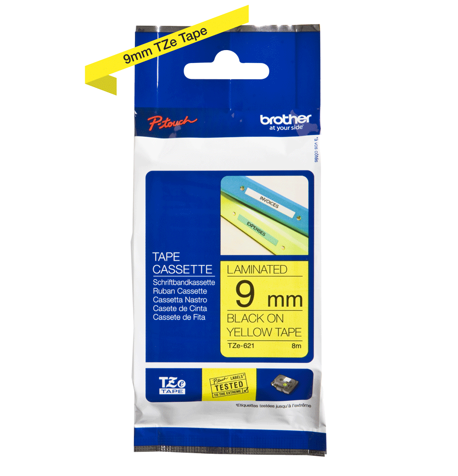 Genuine  Brother TZe-621 Labelling Tape Cassette – Black on Yellow, 9mm wide 2