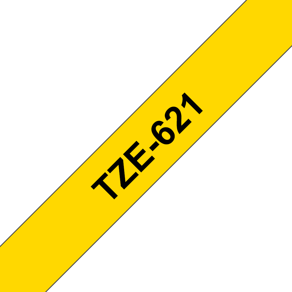 Genuine  Brother TZe-621 Labelling Tape Cassette – Black on Yellow, 9mm wide 3