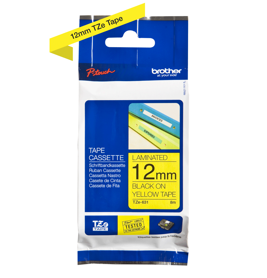 Genuine Brother TZe-631 Labelling Tape – Black on Yellow, 12mm wide 1