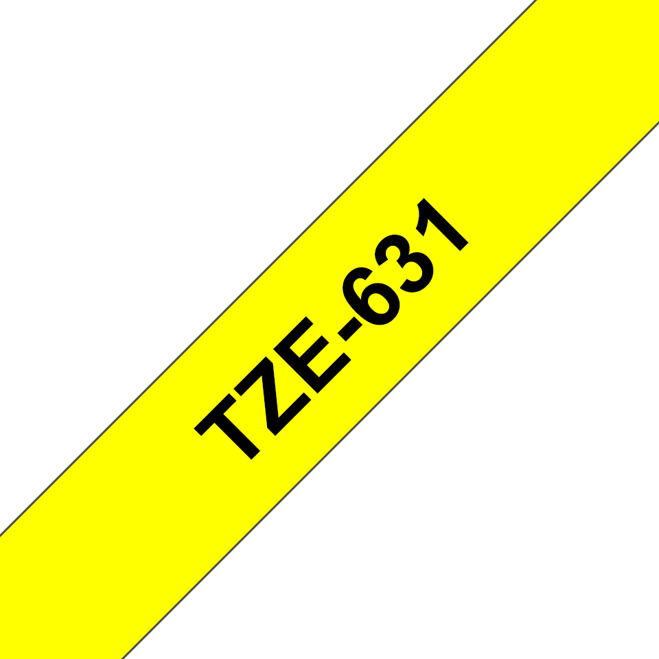 Genuine Brother TZe-631 Labelling Tape – Black on Yellow, 12mm wide