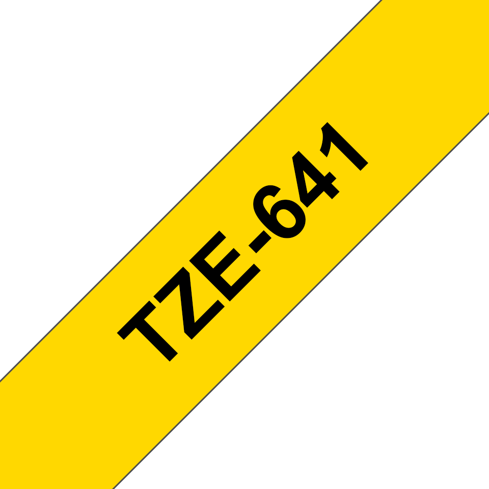 Genuine Brother TZe-641 Labelling Tape Cassette – Black on Yellow, 18mm wide