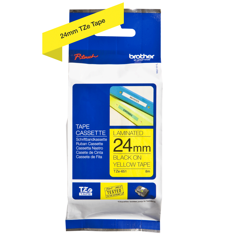 Genuine Brother TZe-651 Labelling Tape Cassette – Black on Yellow, 24mm wide 2