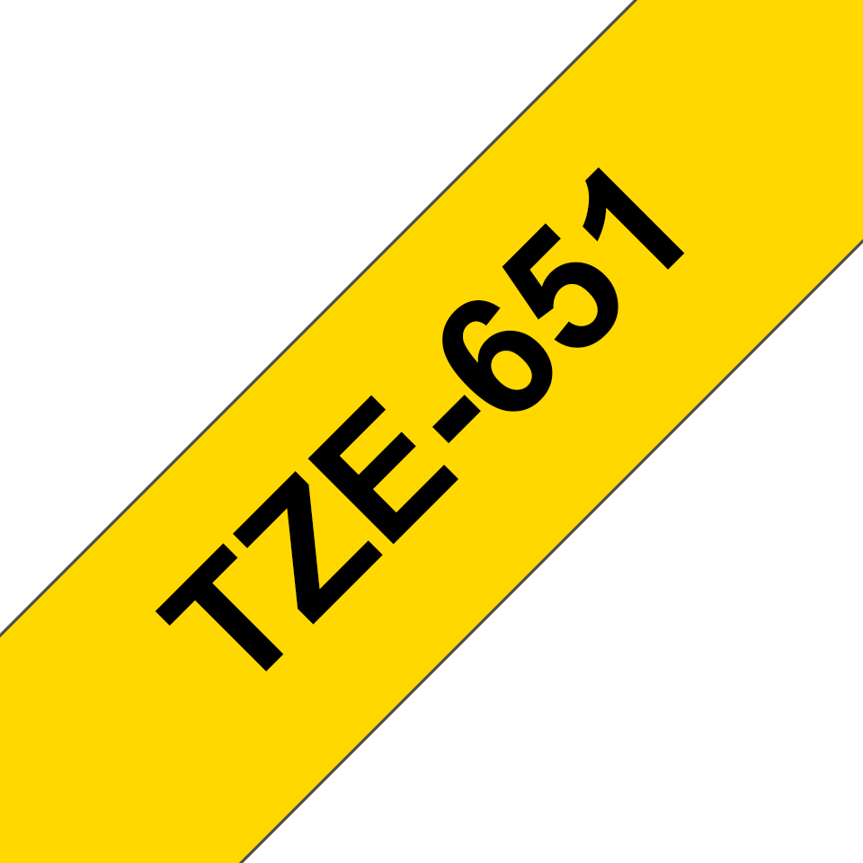 Genuine Brother TZe-651 Labelling Tape Cassette – Black on Yellow, 24mm wide 3