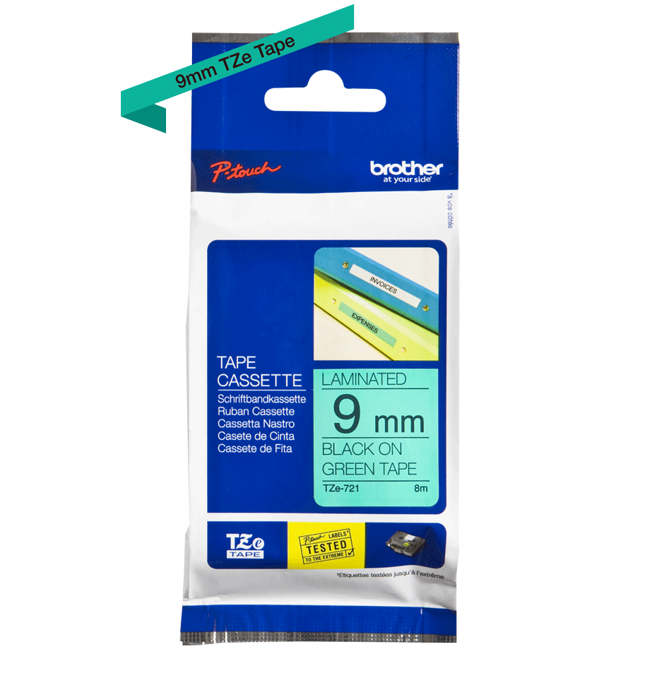 Genuine Brother TZe-721 Labelling Tape Cassette – Black on Green, 9mm wide 3