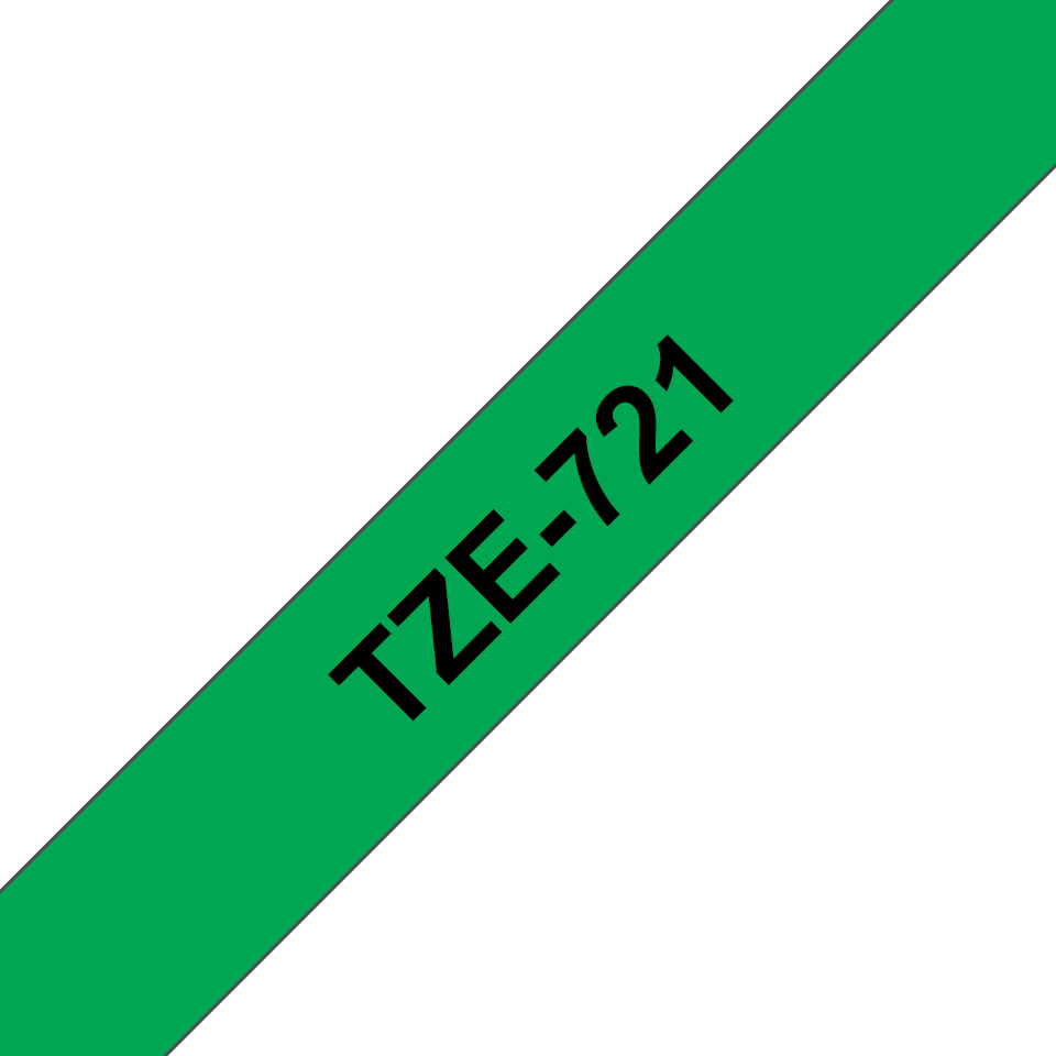 Genuine Brother TZe-721 Labelling Tape Cassette – Black on Green, 9mm wide