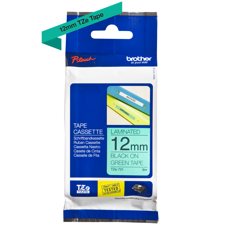 Genuine  Brother TZe-731 Labelling Tape Cassette – Black on Green, 12mm wide 1