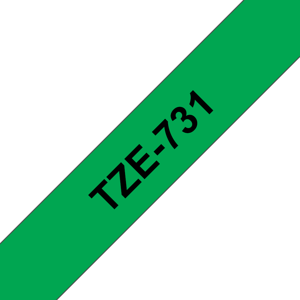 Genuine  Brother TZe-731 Labelling Tape Cassette – Black on Green, 12mm wide