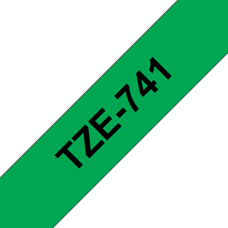 Genuine Brother TZe-741 Labelling Tape Cassette – Black on Green, 18mm wide