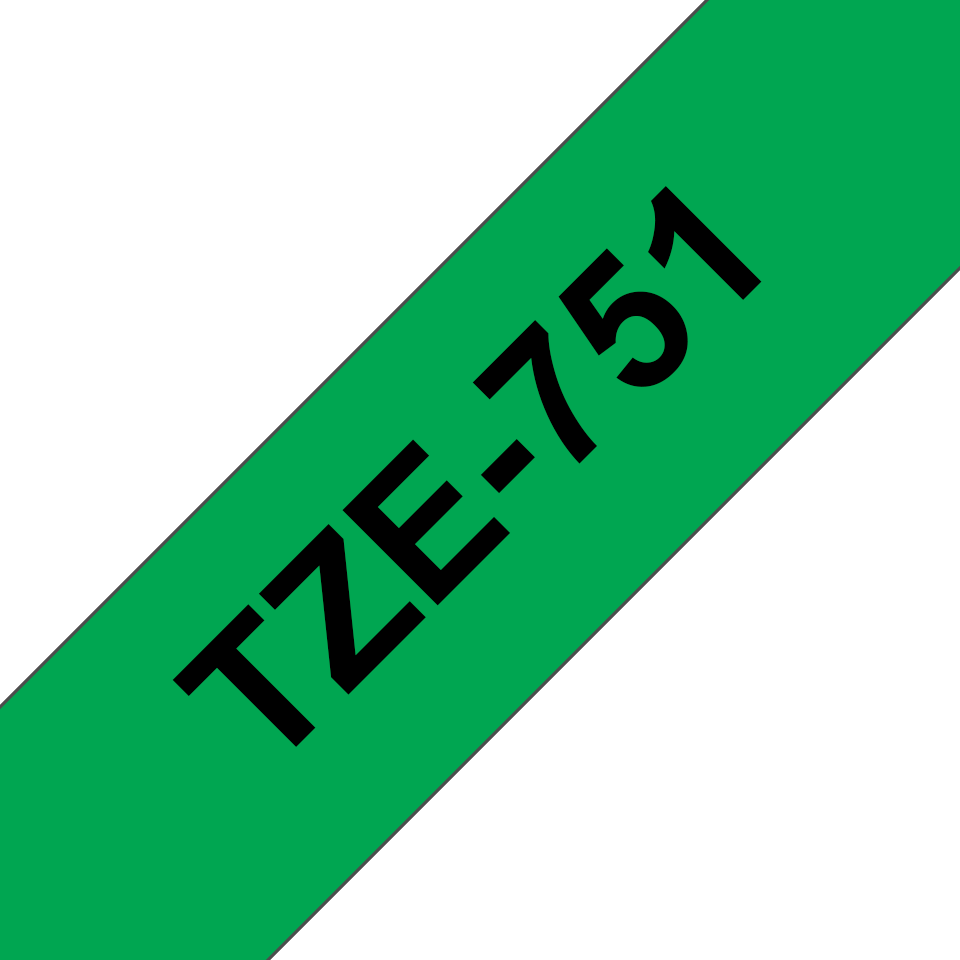 Genuine Brother TZe-751 Labelling Tape Cassette – Black on Green, 24mm wide