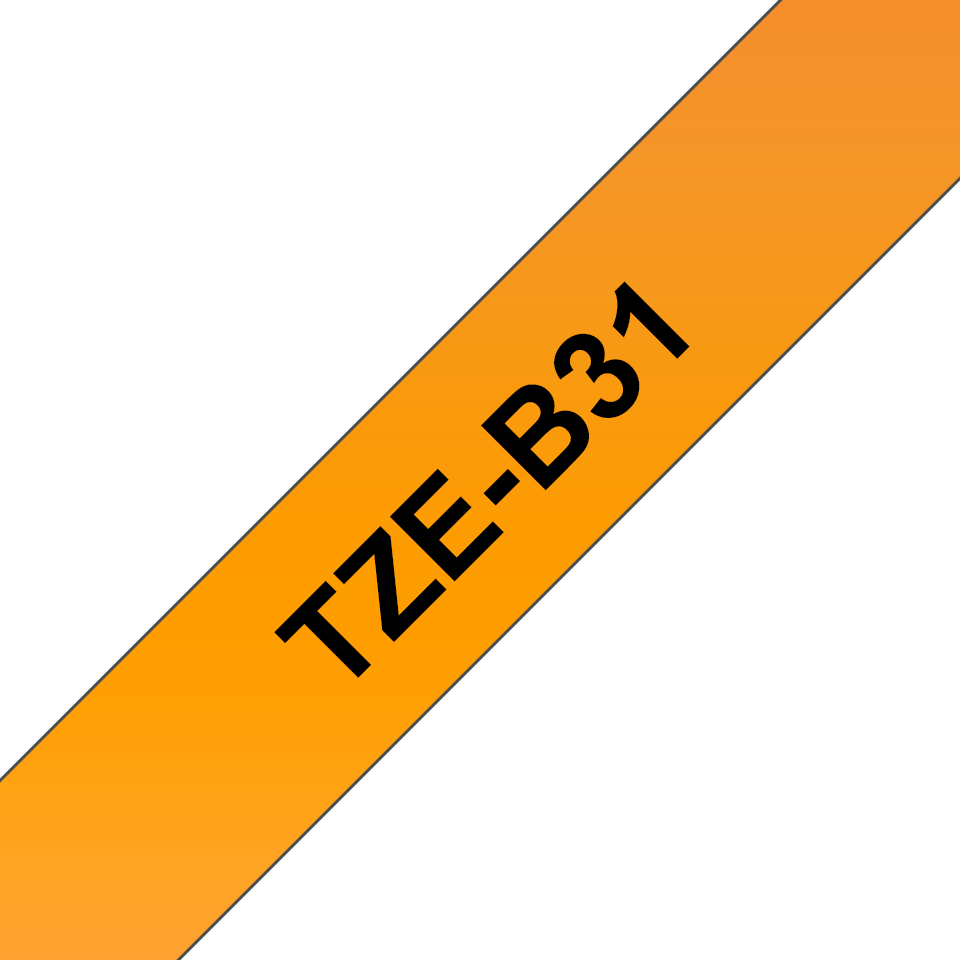 Genuine Brother TZe-B31 Labelling Tape Cassette – Fluorescent Orange, 12mm wide