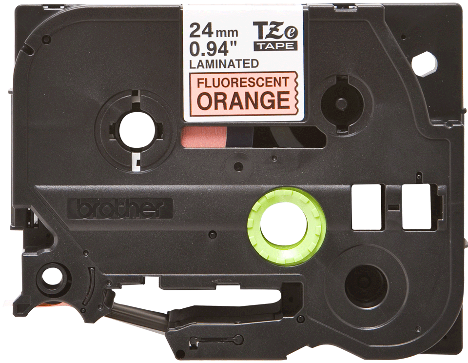 Genuine Brother TZe-B51 Labelling Tape Cassette – Black on Fluorescent Orange, 24mm wide 2