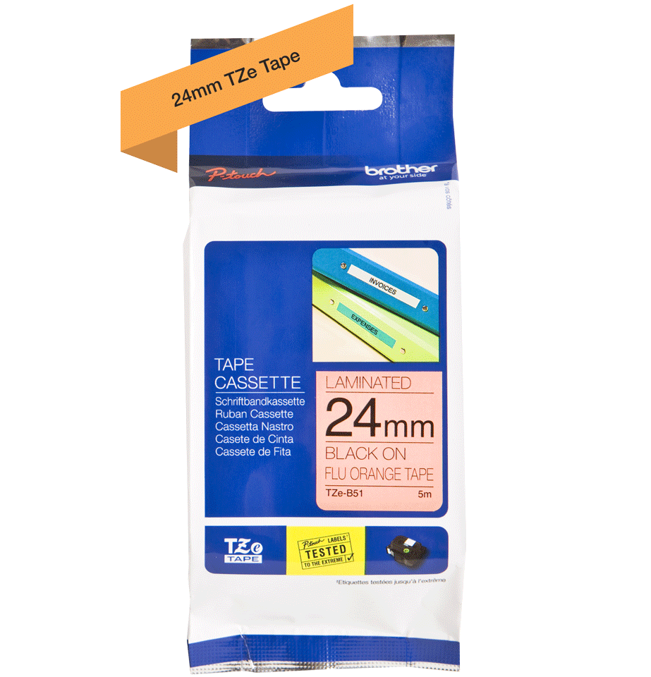 Genuine Brother TZe-B51 Labelling Tape Cassette – Black on Fluorescent Orange, 24mm wide 3