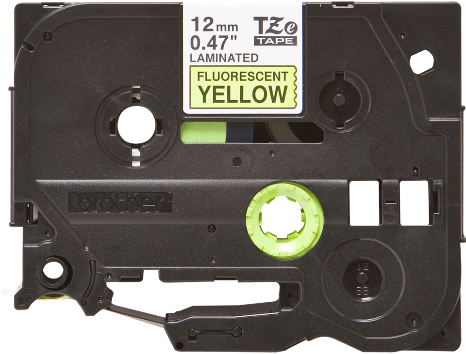 Genuine Brother TZe-C31 Labelling Tape Cassette – Black on Fluorescent Yellow, 12mm wide 2
