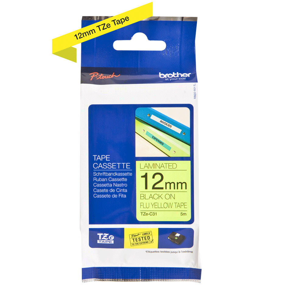 Genuine Brother TZe-C31 Labelling Tape Cassette – Fluorescent Yellow, 12mm wide 1