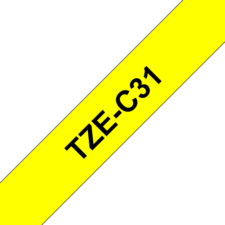 Genuine Brother TZe-C31 Labelling Tape Cassette – Black on Fluorescent Yellow, 12mm wide