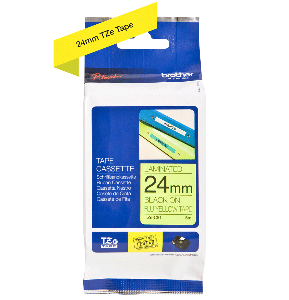 Genuine Brother TZe-C51 Labelling Tape Cassette – Black on Fluorescent Yellow, 24mm wide 2