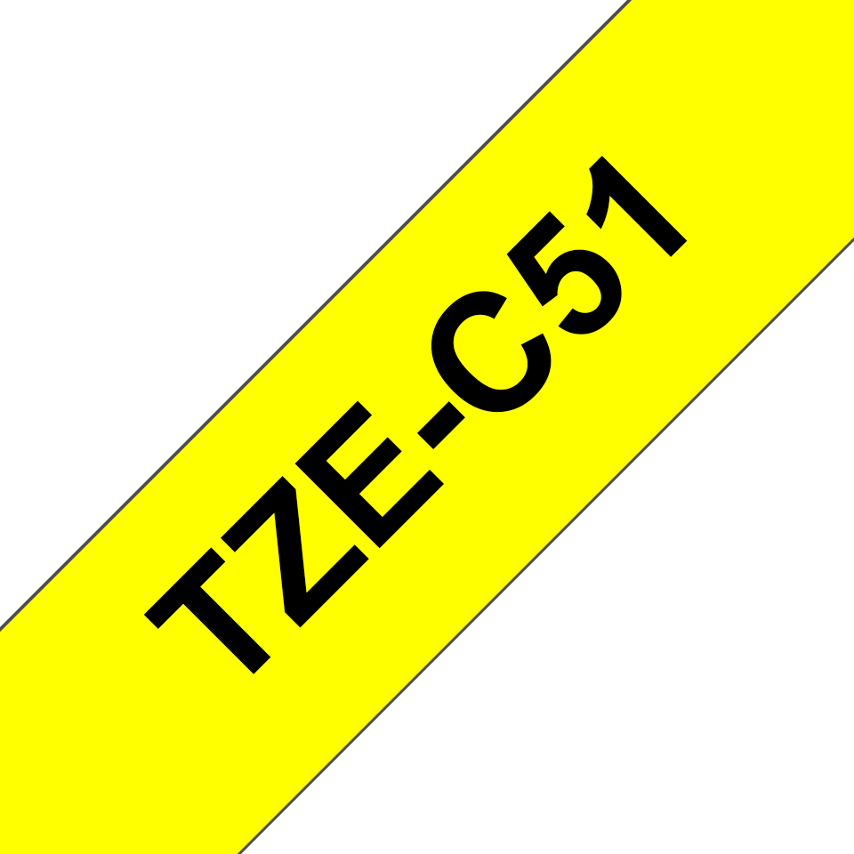 Genuine Brother TZe-C51 Labelling Tape Cassette – Black on Fluorescent Yellow, 24mm wide 3