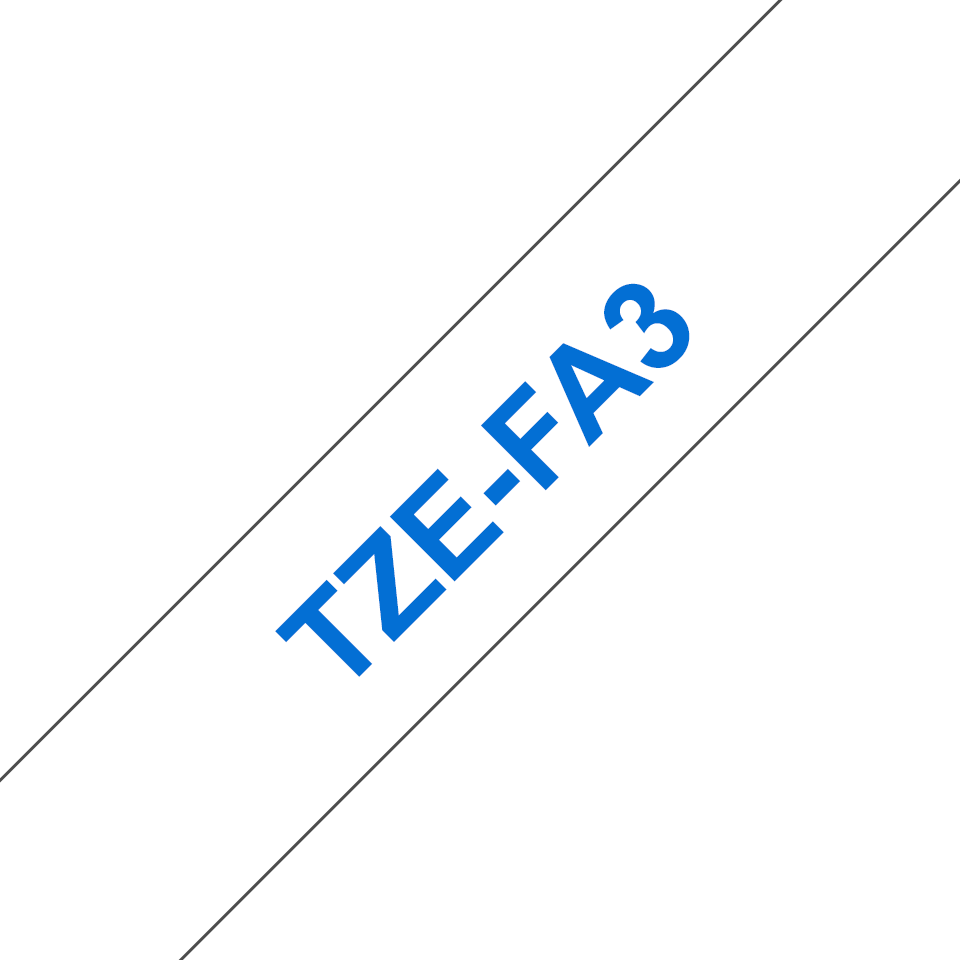 Genuine Brother TZe-FA3 Fabric Tape Cassette – Blue on White, 12mm wide