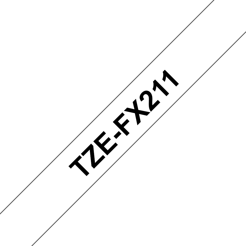 Genuine Brother TZe-FX211 Labelling Tape Cassette – Black on White, 6mm wide