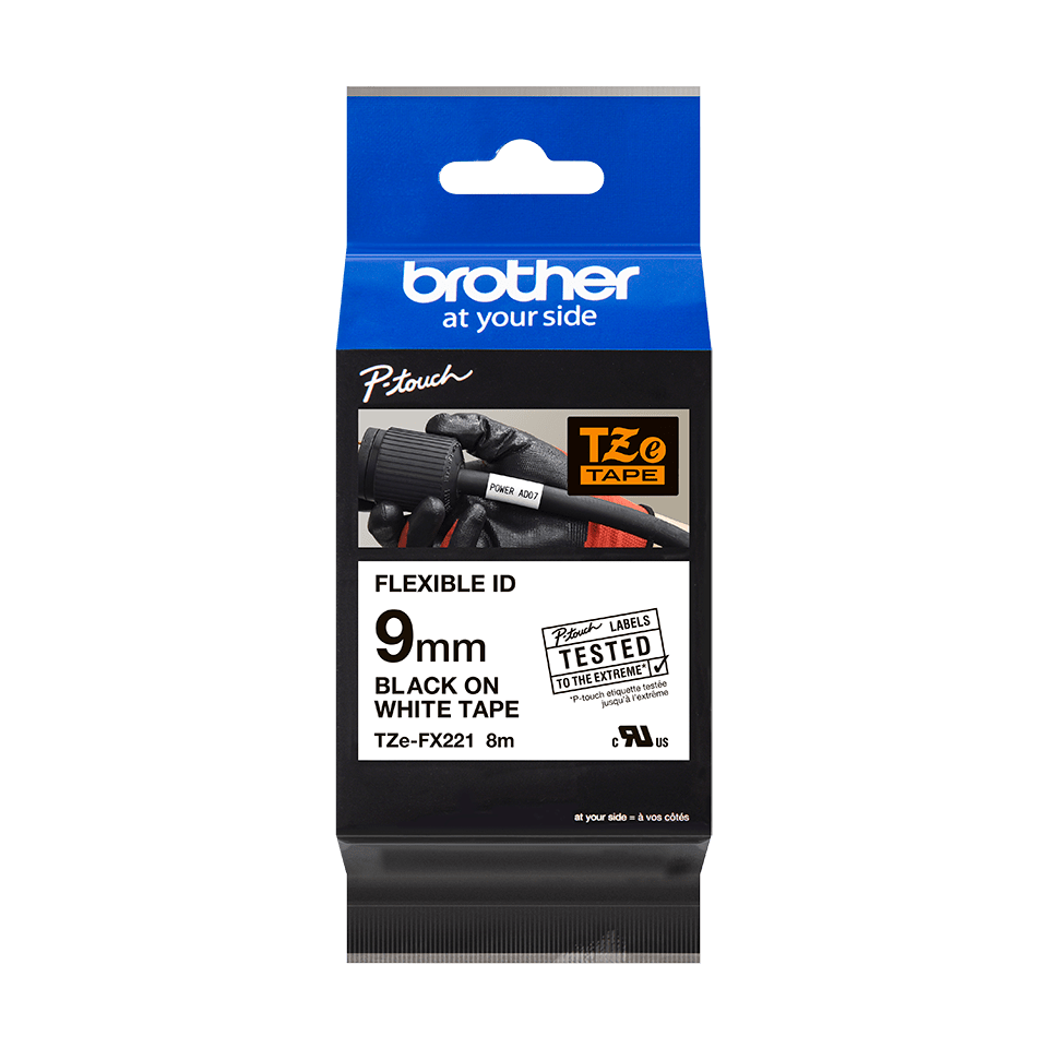 Genuine Brother TZe-FX221 Labelling Tape Cassette – Black on White Flexible-ID, 9mm wide 2