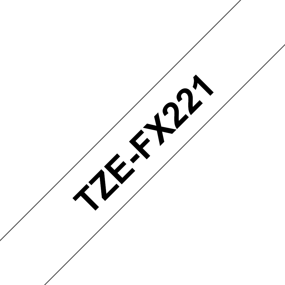 Genuine Brother TZe-FX221 Labelling Tape Cassette – Black on White, 9mm wide