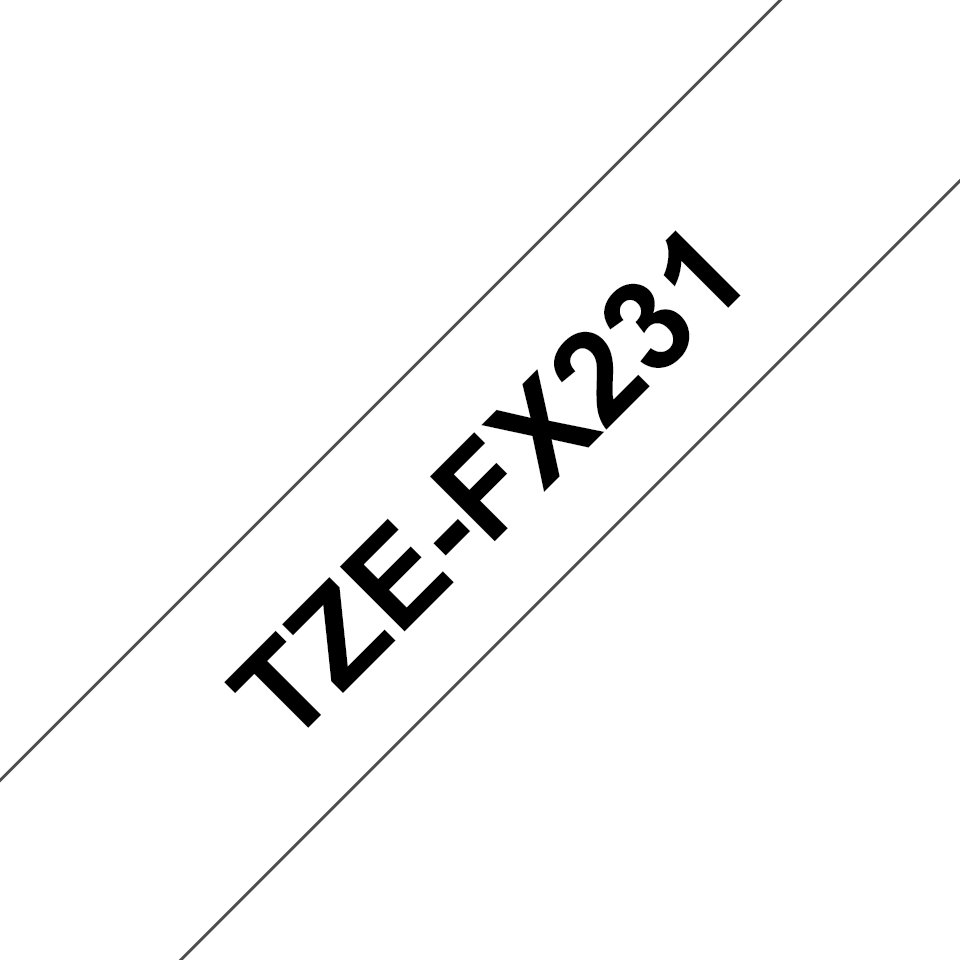 Genuine Brother TZe-FX231 Labelling Tape Cassette – Black on White, 12mm wide