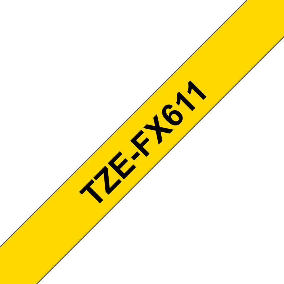 Genuine Brother TZe-FX611 Labelling Tape Cassette – Black on Yellow Flexible-ID, 6mm wide 3