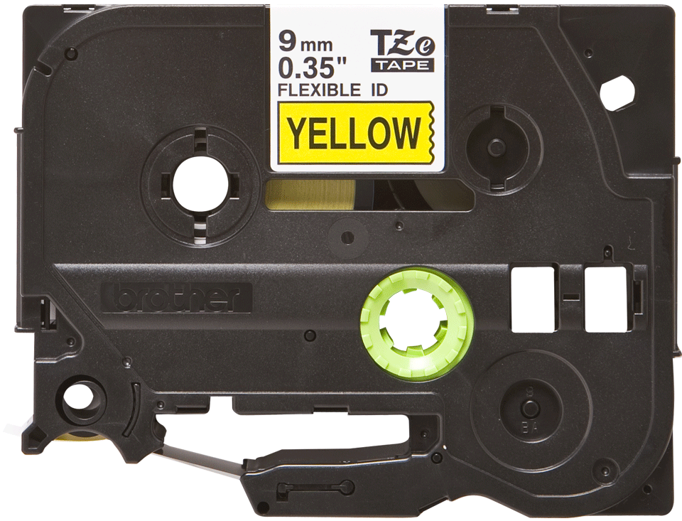 Genuine Brother TZe-FX621 Labelling Tape Cassette – Black on Yellow Flexible-ID, 9mm wide
