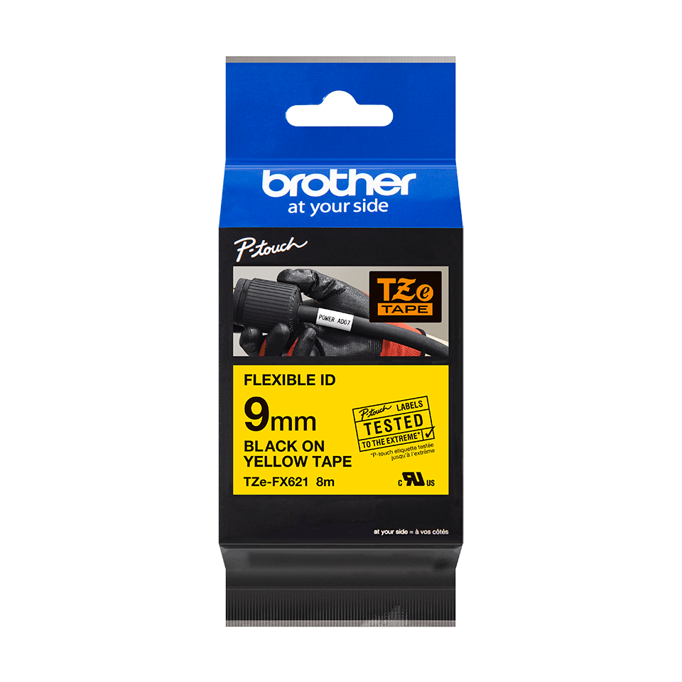 Genuine Brother TZe-FX621 Labelling Tape Cassette – Black on Yellow Flexible-ID, 9mm wide 2