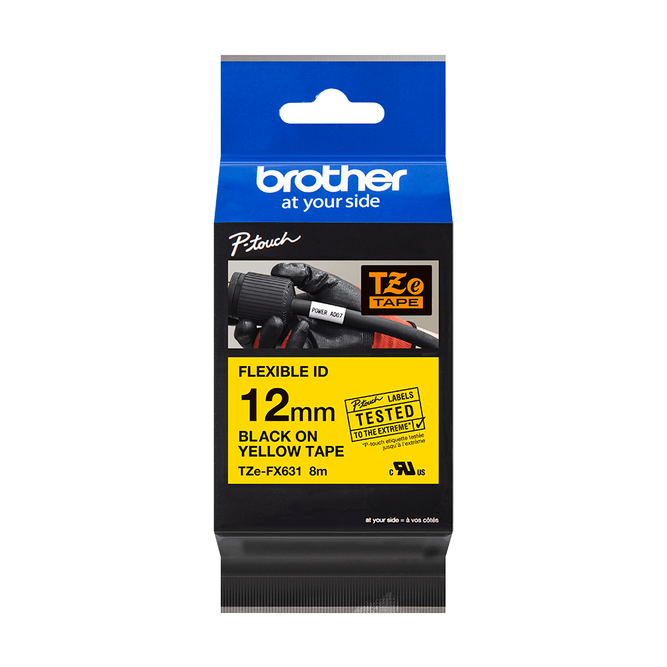 Genuine Brother TZe-FX631 Labelling Tape Cassette – Black on Yellow Flexible-ID, 12mm wide 3