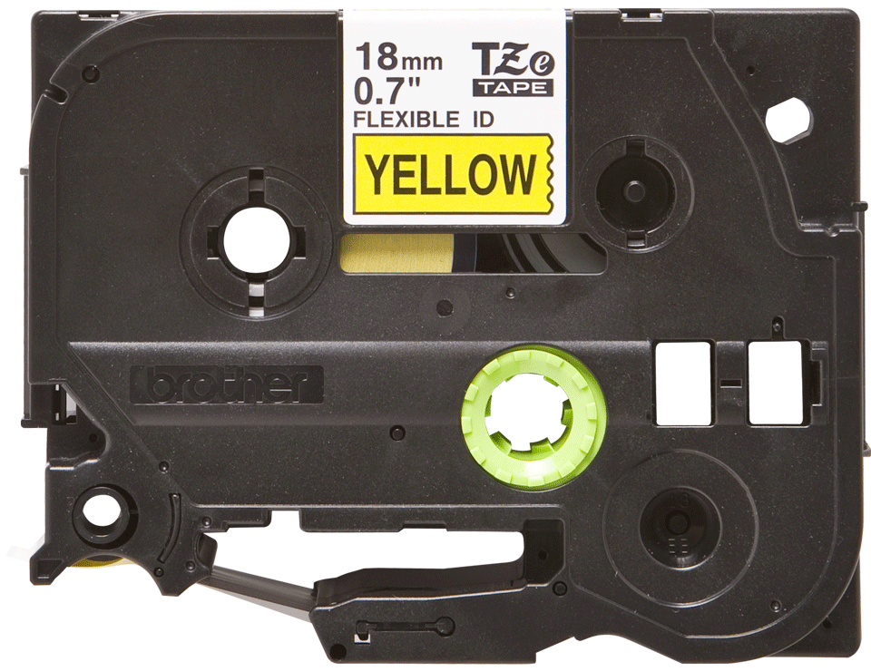 Genuine Brother TZe-FX641 Labelling Tape Cassette – Black on Yellow Flexible-ID, 18mm wide
